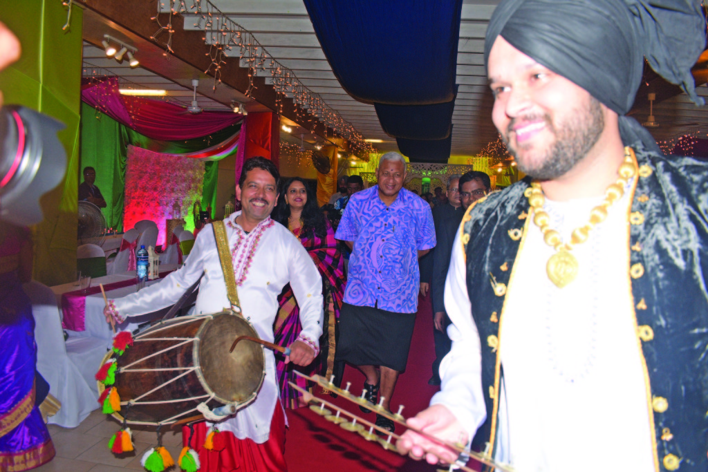 A musical group provides the entertainment as Prime Minister Voreqe Bainimarama joins Indian High Commissioner to Fiji, Vishvas Sapkal, during the 70th Republic Day of India reception at the Novotel Suva Lami Bay on January 26. Photo: Swashna Chand