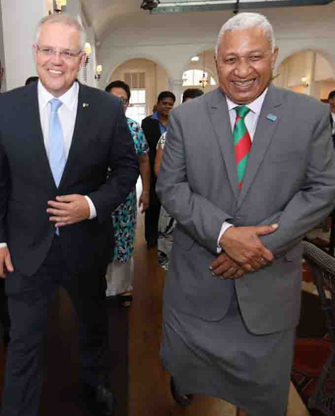 Welcome to Fiji, PM Morrison … Visiting Prime Minister of Australia Scott Morrison is accompanied by Fijian Prime Minister Voreqe Bainimarama at the Grand Pacific Hotel in Suva yesterday. There has been a push for the Pacific to be a priority in Australia's foreign policy White Paper and more of Australia's overseas development assistance to be redirected to the Pacific. Photo : DEPTFO NEWS