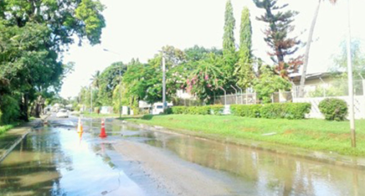 FRA: Water Burst In Nadi Between McDonalds And Kennedy Avenue