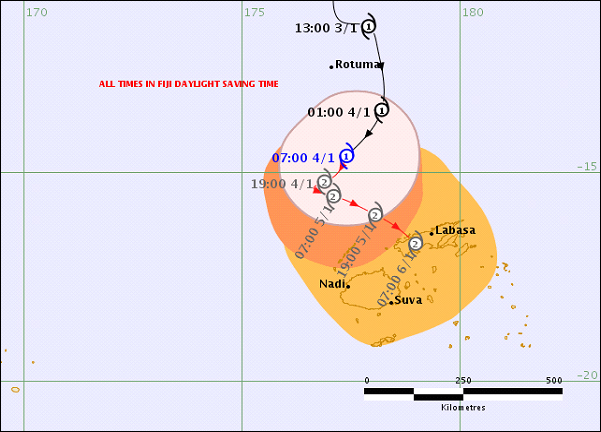 Tropical Cyclone Mona (CAT1), Threat Map at 8.51am today on 04 January 2019.