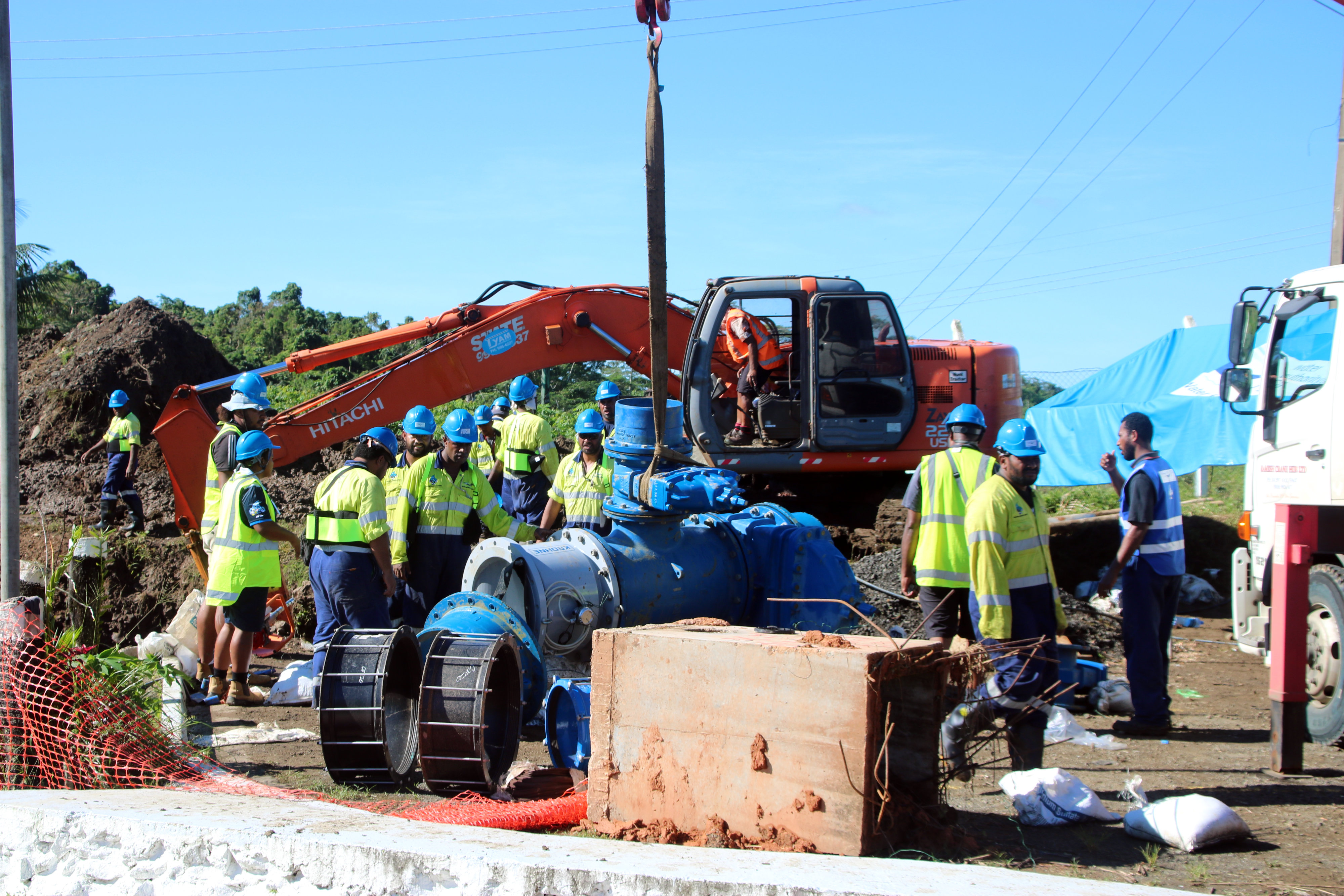 Water Authority of Fiji (WAF) crew members at a cut-in site at the Waila Water Treatment on January 13, 2019. Photo: WAF