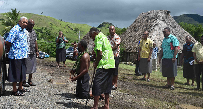 Prime Minister Voreqe Bainimarama is being welcomed during the commissioning of the Navala Grid Extension project in Ba on January 29, 2019. Photo: Waisea Nasokia