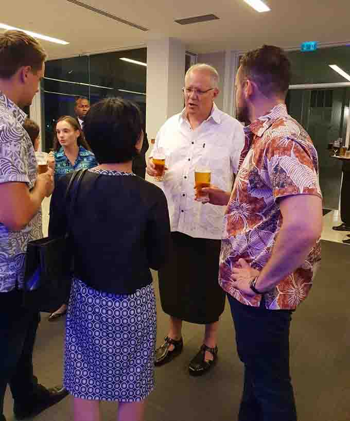 Australian Prime Minister Scott Morrison (second from right) during the dinner reception at the Grand Pacific Hotel in Suva on January 17, 2019.  Photo: DEPTFO News
