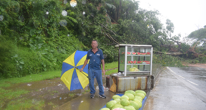 Edward Shankar standing beside his watermelon stand where the landslide occurred on January 20, 2019. Photo: Simione Haravanua