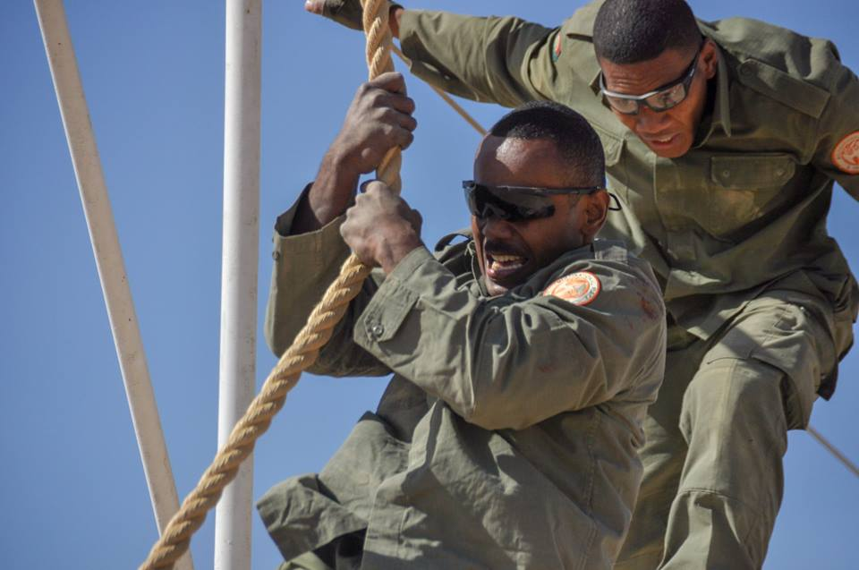 The 2nd Fiji Infantry Regiment (2FIR) Force Skills teams during the Obstacle course. Photo: RFMF Media Cell