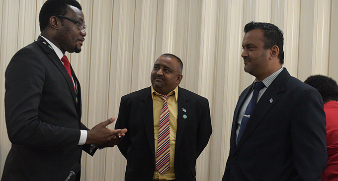 From left: Biosecurity Acting chief executive officer Hillary Kumwenda, Government Member of Parliament Rohit Sharma and the Chairman for the standing committee Alvick Maharaj during the submissions on  January 28, 2019. Photo: Simione Haravanua