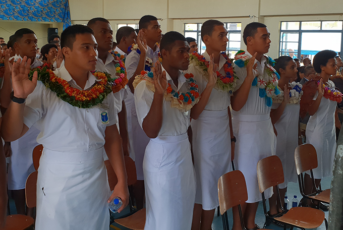 Natabua High School prefects taking their oath as school leaders for the 2019 academic year. Photo: Nicolette Chambers