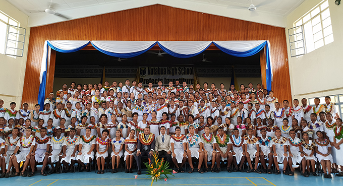 The Minister for Defence, National Security and Foreign Affairs, Inia Seruiratu with the 179 school prefects of Natabua High School during the school's prefects investiture ceremony on February 22. Photo: Nicolette Chambers