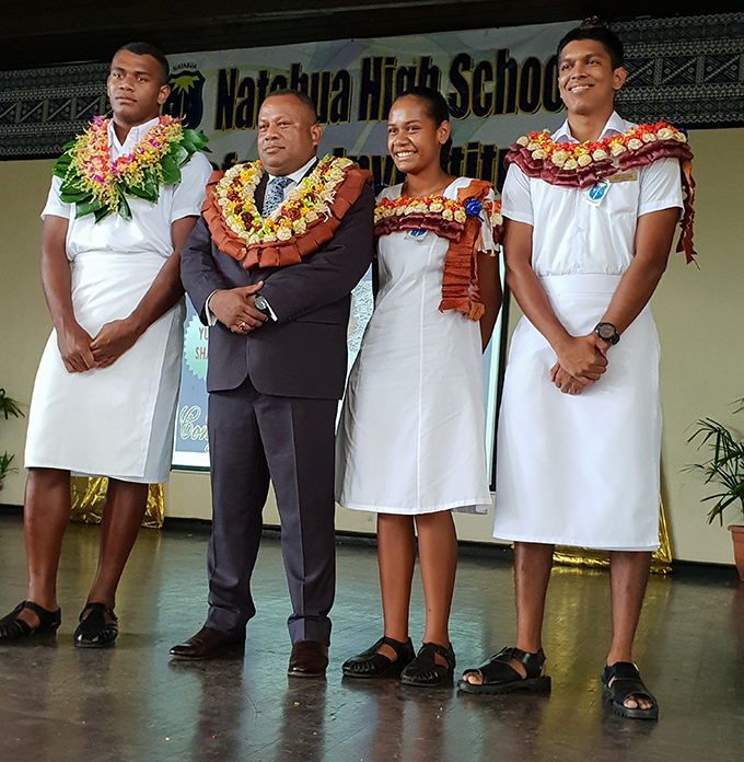 From left: Natabua High School hostel head boy, Tiko Batibasaga, the Minister for Defence, National Security and Foreign Affairs, Inia Seruiratu, head girl Peniana Qonitoga and head boy Yuvnel Sharma after the school's Prefects Investiture Ceremony on February 22. Photo: Nicolette Chambers