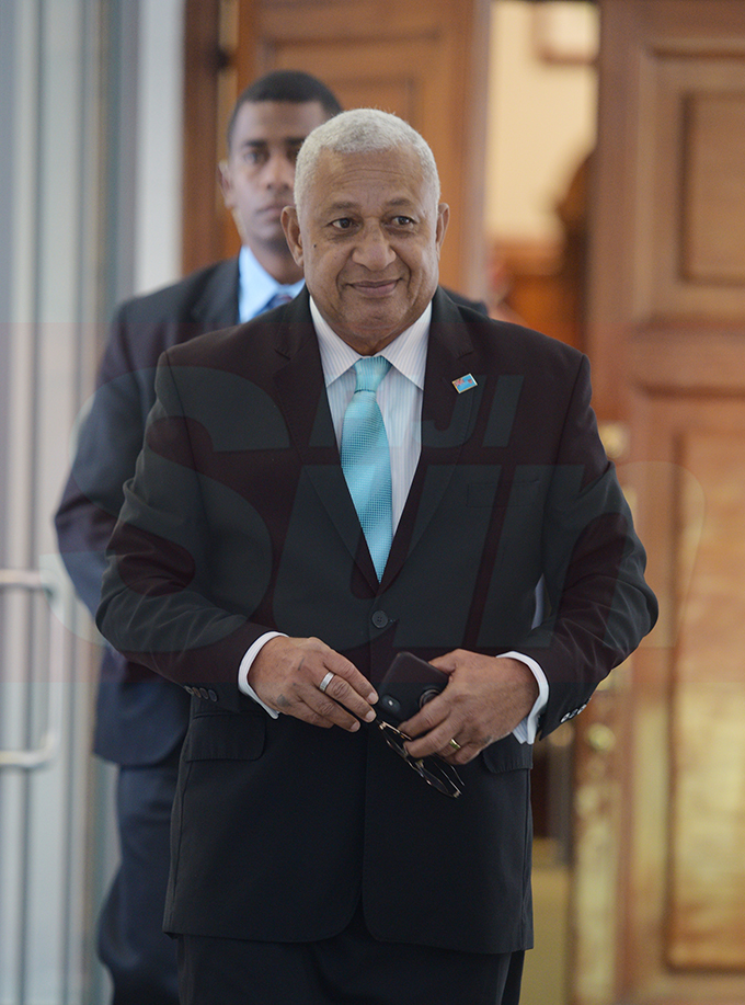 Prime Minister Voreqe Bainimarama outside Parliament on February 12, 2019. Photo: Ronald Kumar.