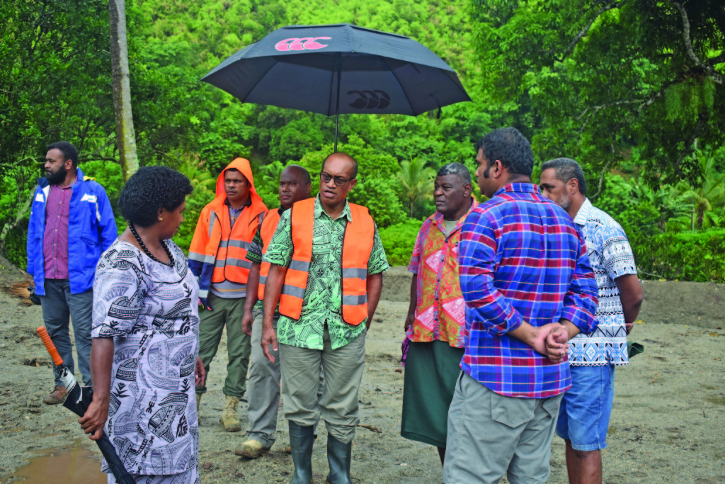 The Minister for Infrastructure, Transport, Disaster Management and Meteorological Services, Jone Usamate touring Draubuta Village on February 18, 2019. Photo: Nicolette Chambers