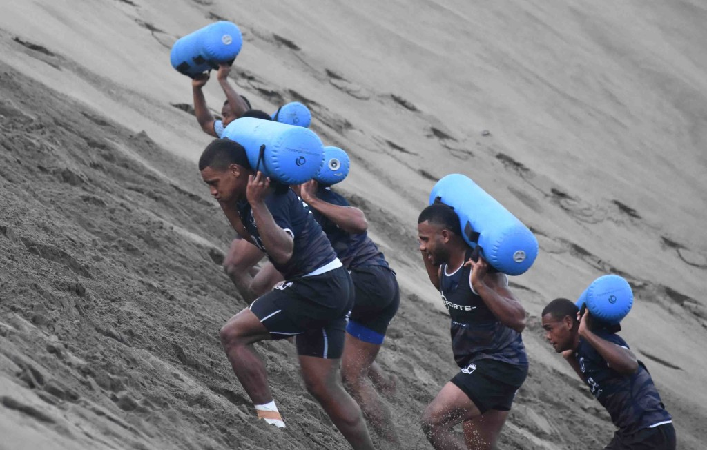Fiji Airways 7's team during training at the Sigatoka Sand Dunes National Park yesterday. Photo: WAISEA NASOKIA
