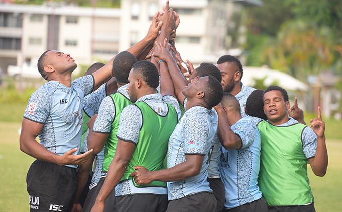 Fiji Airways Fijian 7's squad members during training at Albert Park in Suva on February 13, 2019. Photo: Ronald Kumar.