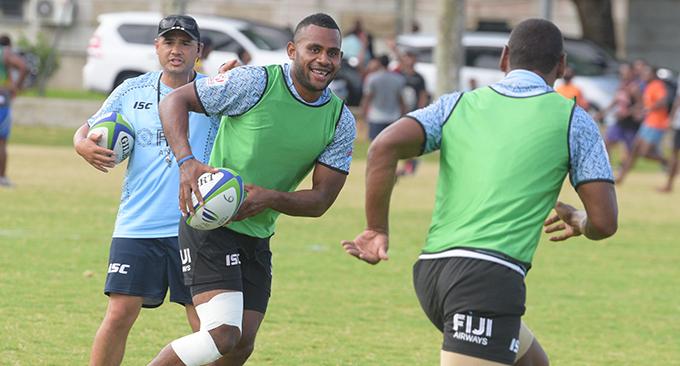 Fiji Airways Fijian 7's squad member Viliame Botitu looks to off-load during training at Albert Park in Suva on February 13, 2019. Photo: Ronald Kumar.