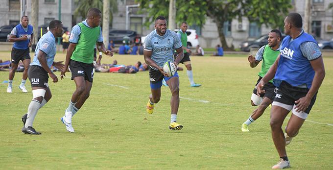 Sevaloni Mocenacagi (with ball) trains with Fiji Airways Fijian 7's squad members at Albert Park in Suva on February 13, 2019. Photo: Ronald Kumar.