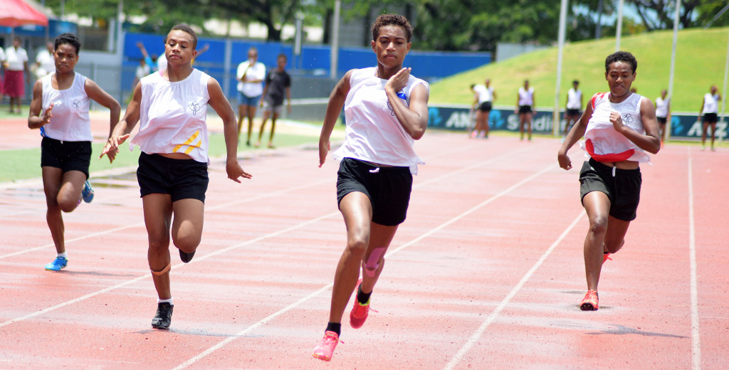 Amale Navabale (third from left) won the inter-girls 100meters final during Adi Cakobau School inter-house competition at ANZ Stadium on February 16, 2019. Photo: Ronald Kumar.