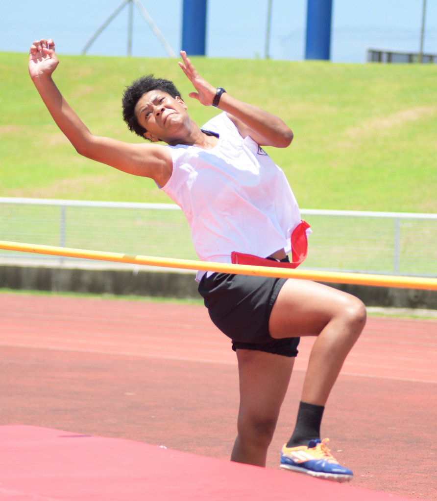 Merewairita Naulu attempts to clears the bar during Adi Cakobau School  inter-house competition inter-girls high jump final at ANZ Stadium on February 16, 2019. Photo: Ronald Kumar.