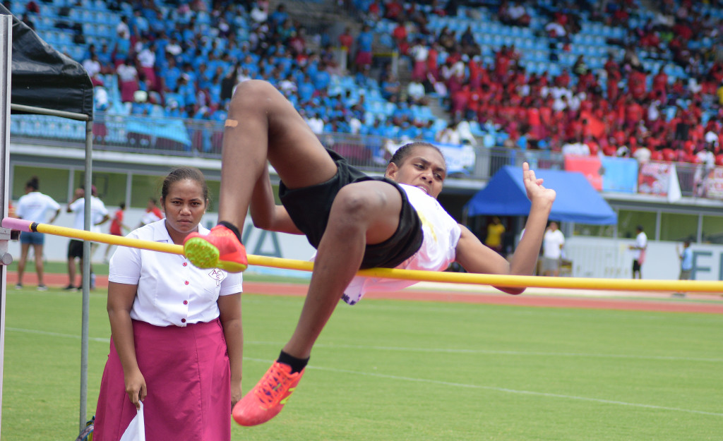 Yvonne Nalewabau clears the bar during Adi Cakobau School inter-house competition high jump final at ANZ Stadium on February 16, 2019. Photo: Ronald Kumar.