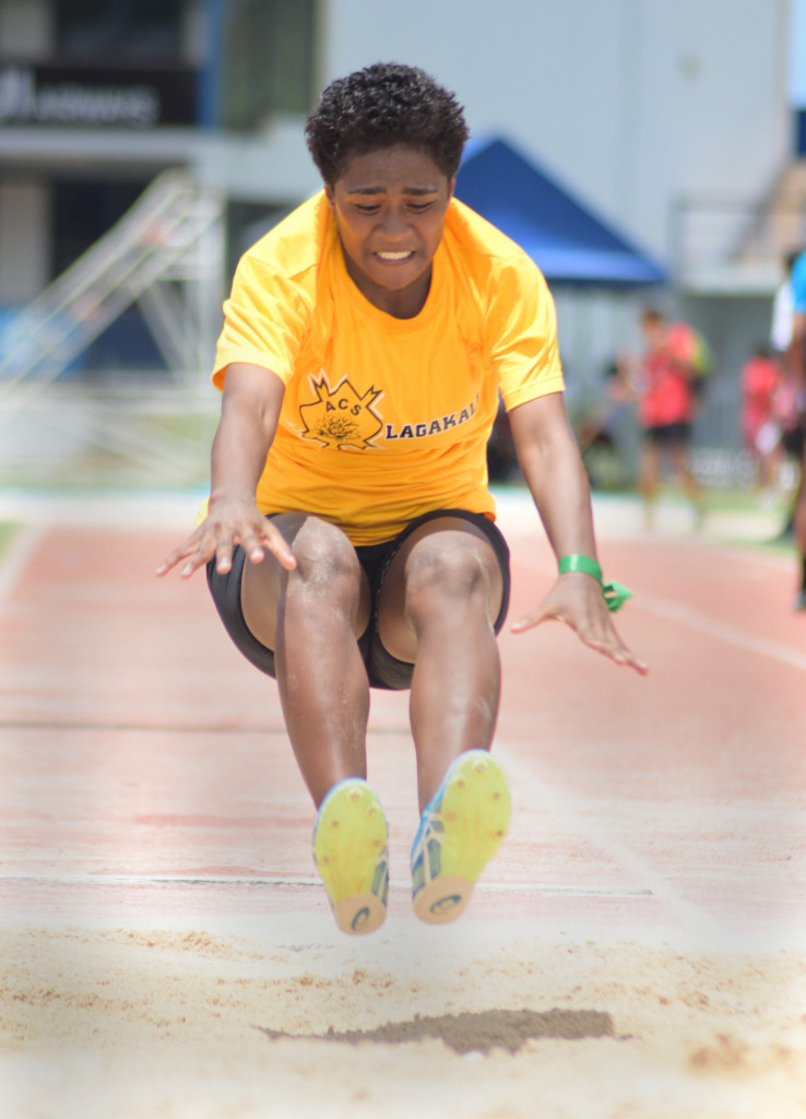 Serewaia Tasau in action during Adi Cakobau School  inter-house competition junior girls long jump final at ANZ Stadium on February 16, 2019. Photo: Ronald Kumar.
