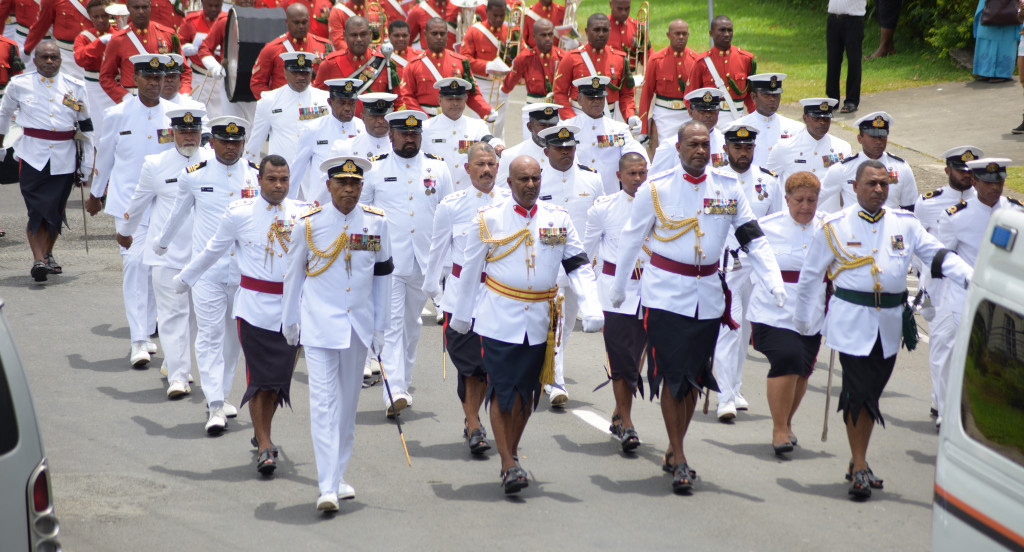 Republic of Fiji Military Forces Commander, Rear-Admiral Viliame Naupoto was also part of large number of RFMF personnel who escorted the casket of former Commander of RFMF late Col. Paul Manueli from Miot Hospital in Army Street to Brown Street and to the junction of Rewa Street on February 28, 2019. Photo: Ronald Kumar