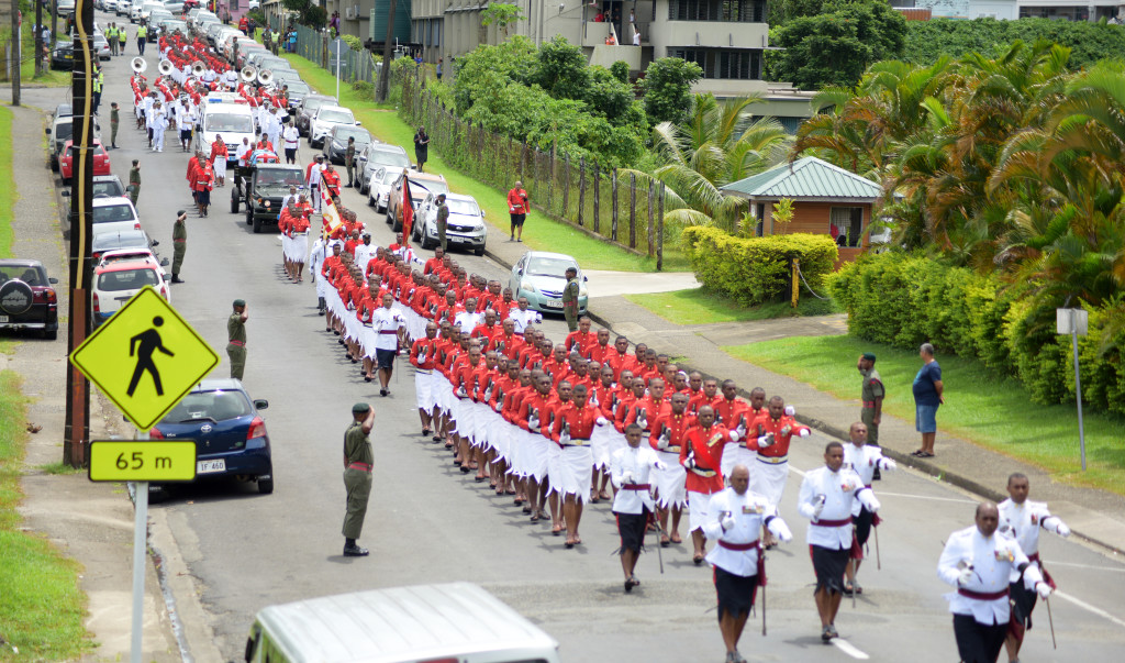 Republic of Fiji Military Force personnel escorted the casket of former Commander of RFMF late Col. Paul Manueli from Miot Hospital in Army Street to Brown Street and to the junction of Rewa Street on February 28, 2019. Photo: Ronald Kumar.