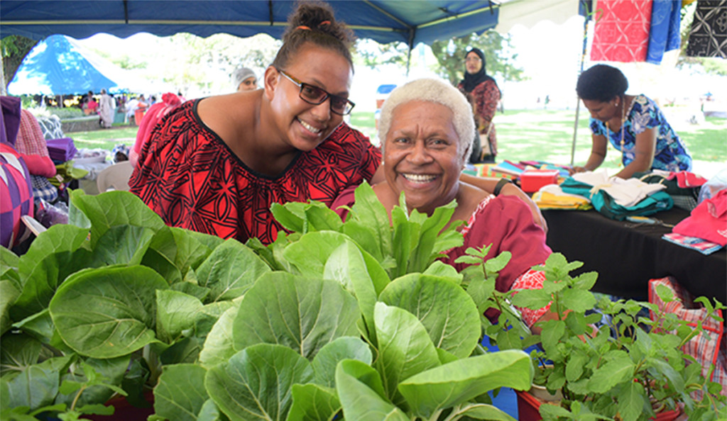 Makoi Womens Vocational training centre trainer, Rosemary Bilitaki (left) and Amalaini Kanasalusalu with hydroponics farming display during the central division craft show at Ratu Sukuna Park on February 20, 2019. Photo: Ronald Kumar.