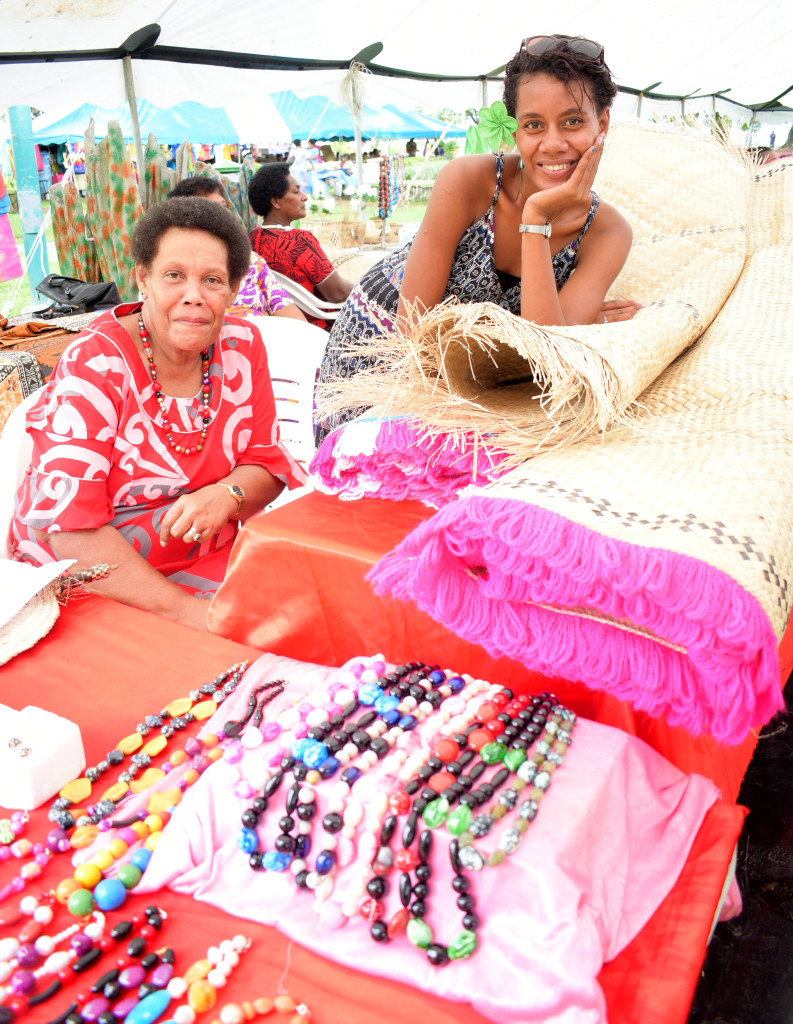 Akata Besetimoala 56 with her 20 year-old niece, Sivo Sausauwai during the central division craft show at Ratu Sukuna Park on February 20, 2019. Photo: Ronald Kumar.
