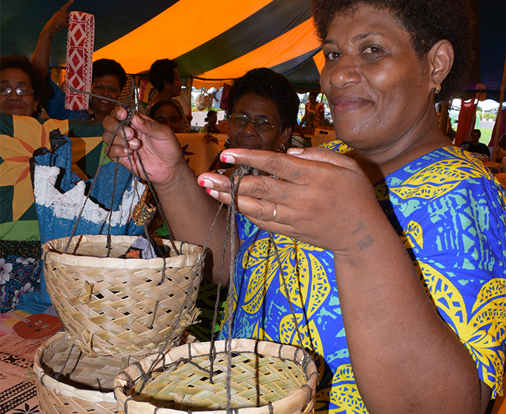 Kelera Secake 49 of Tailevu South Womens group with some of her handicraft on sale during the central division craft show at Ratu Sukuna Park on February 20, 2019. Photo: Ronald Kumar.