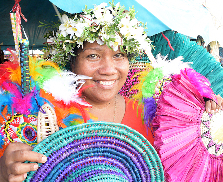 Toka Tane 49, with her Pacific Island craft during the central division craft show at Ratu Sukuna Park on February 20, 2019. Photo: Ronald Kumar.