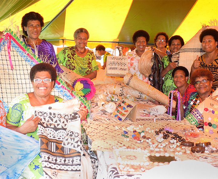 Ladies from Tailevu North Womens group with some of their handicraft on sale during the central division craft show at Ratu Sukuna Park on February 20, 2019. Photo: Ronald Kumar.