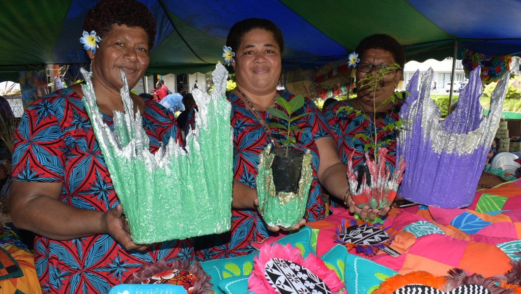 Monday Club members (from left) Akanisi Mailakeba, Salasaini Ganilau and Asenaca Nabolo during the central division craft show at Ratu Sukuna Park on February 20, 2019. Photo: Ronald Kumar.