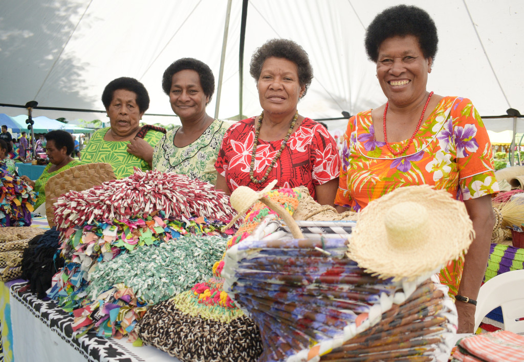 Alisi Kotobalavu 76 (from left), An Marama 59, Luvu Torowale 60 and Siteri Navula 60  displayed their handicraft during the central division craft show at Ratu Sukuna Park on February 21, 2019. Photo: Ronald Kumar.