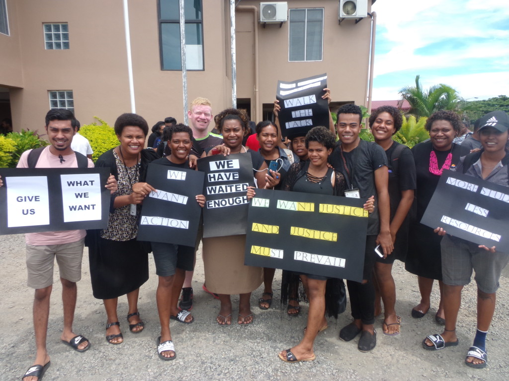University of Fiji students with their placards during the protest. Photo: Rohit Kumar