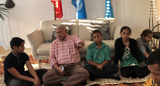 Prime Minister Voreqe Bainimarama with members of the Fijian Community in Geneva, Switzerland.  Photos: DEPTFO News
