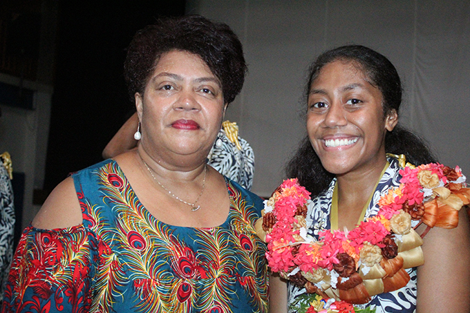 Proud mum Sala Rubuti with daughter and leader Arieta Rubuti after the International Secondary School leaders induction at the school on February 22,2019.Photo:Simione Haravanua.