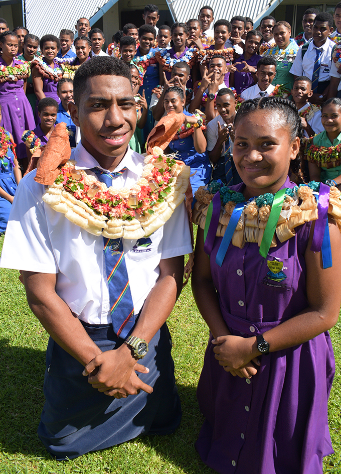 John Wesley College Head Boy Eparama Naivulasiqa  and Head Girl Senibua Likukula (front) with fellow prefects after their prefect induction at Raiwai Methodist Church on February 8, 2019. Photo: Ronald Kumar.