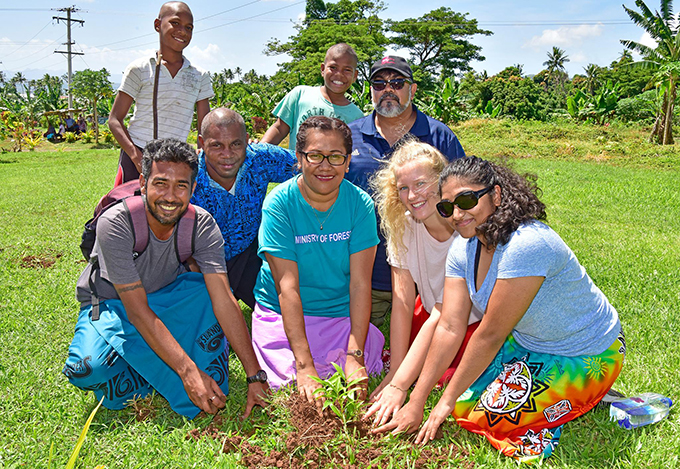 People of Silana with government officials launching the 'Plant 4 Million Trees in 4 years Initiative' in partnership with Fiji Development and the iTaukei Affairs Board at Dawasamu, Tailevu, on 23, February 2019. Photo: DEPTFO News