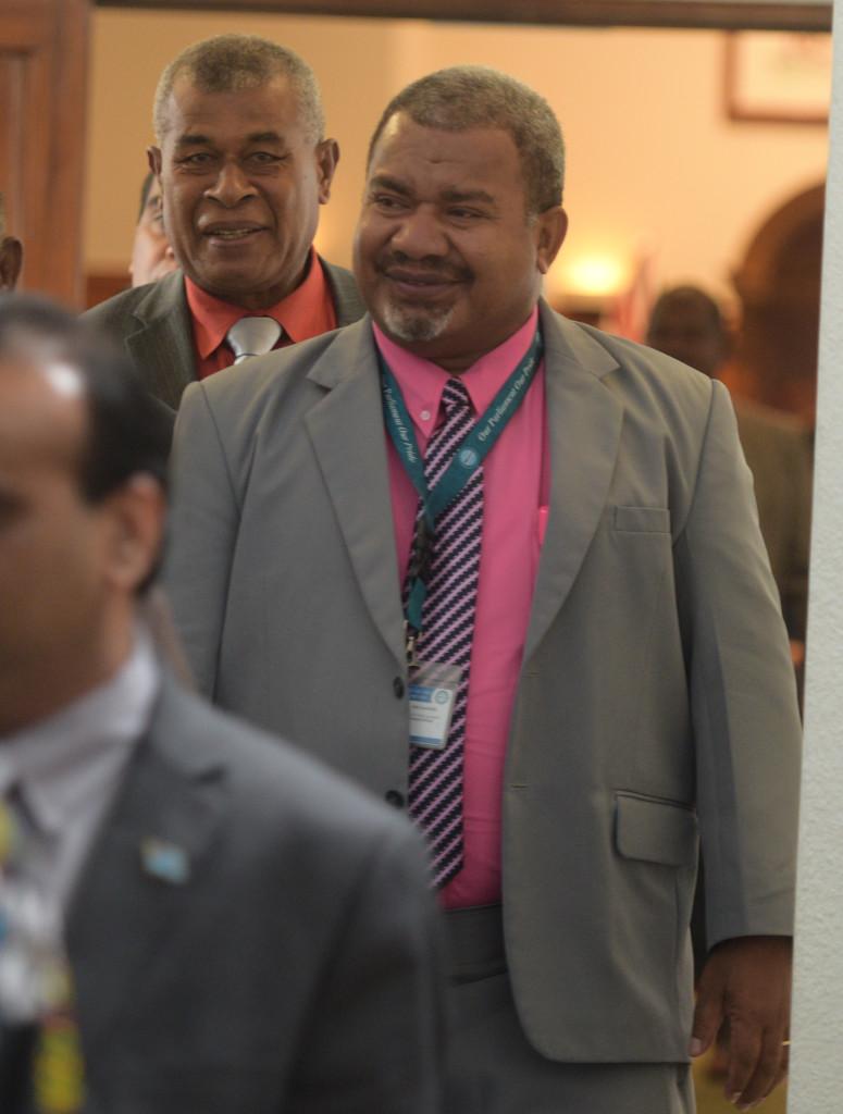 Opposition Members of Parliament Ratu Tevita Navurelevu (left) and Jese Saukuru outside Parliament on February 14, 2019.Photo: Ronald Kumar.