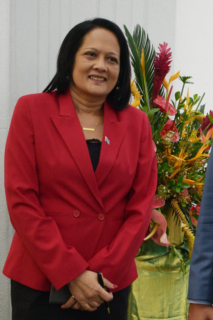 Education Minister Rosy Akbar also dressed in red to mark Valentines day outside Parliament on February 14, 2019. Photo: Ronald Kumar.
