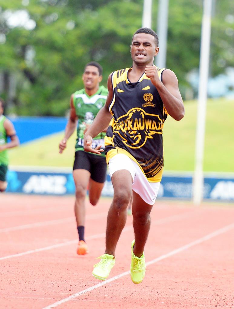 Queens Victoria School athlete, Iliesa Koroivakavua won the senior boys 400meters heats during their inter-house at ANZ Stadium on February 15, 2019. Photo: Ronald Kumar.