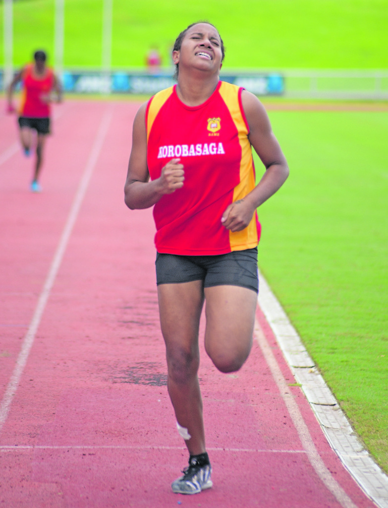 Josephine Naidrewe won the inter-girls 200meters heats during RSMS inter-House at ANZ Stadium on February 20, 2019. Photo: Ronald Kumar.
