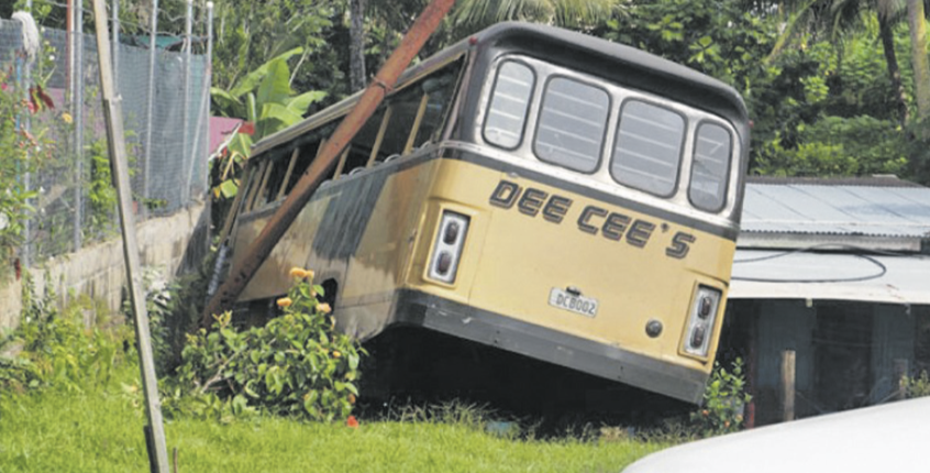 The Dee Cees bus that was involved in an accident with a private car and two taxis at Nadera, Nasinu, in 2015.