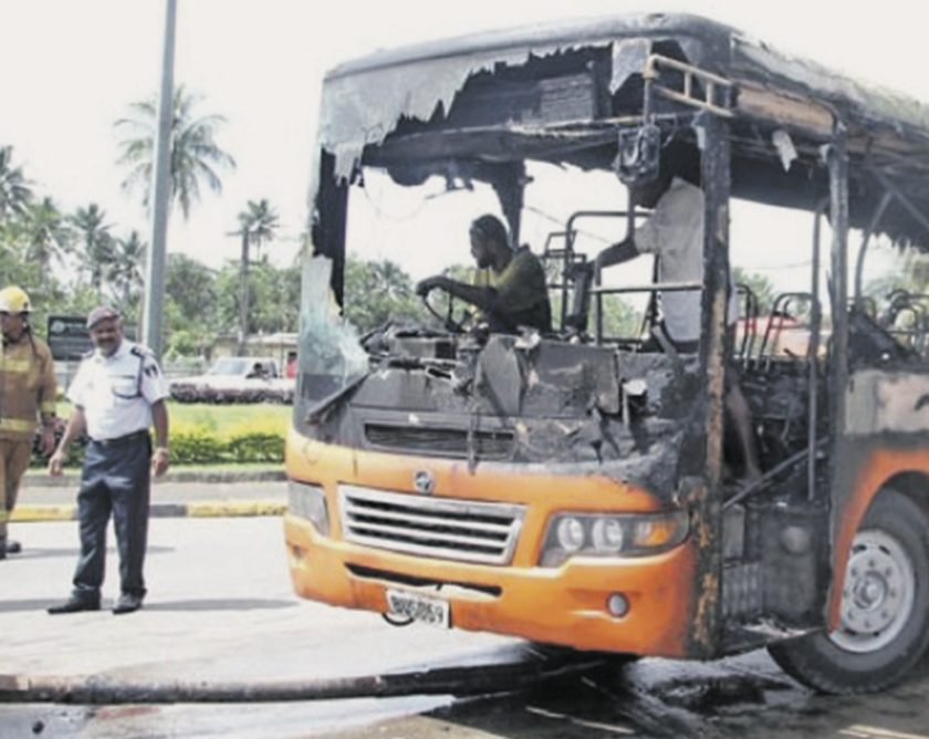 A Tebara bus heading from Suva to Nausori caught fire at the Nausori roundabout near the Nausori Health Centre in 2017.