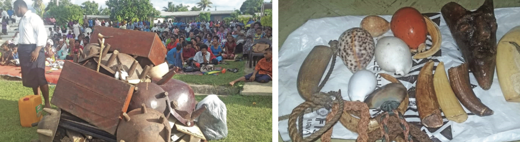 Artefacts used in rituals associated with witchcraft collected at Namoli Village included tanoa (yaqona bowls), tabua (whales teeth), and buli (cowrie shell) which were burnt at the village in the presence of representatives of all the christians denominations in the district of Vitogo.