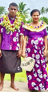 Fiji Airways Fijian 7s prop Apenisa Cakaubalavu with wife Ana.