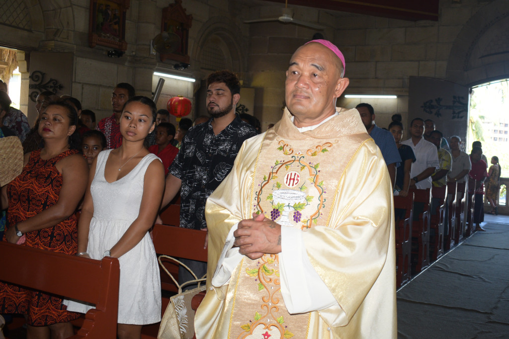 Archbishop Peter Loy Chong during the Chinese New Years mass at the Sacred Heart Cathedral Suva on February 17,2019.Photo:Simione Haravanua.