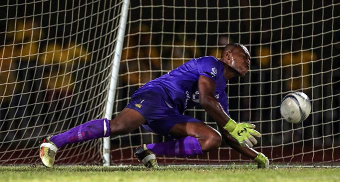 Ba goalkeeper Misiwani Narube saves the penalty against Erakor Golden Star during their OFC Champions League clash at Korman Stadium, Port Vila, Vanuatu on February 26, 2019. Photo: OFC Media