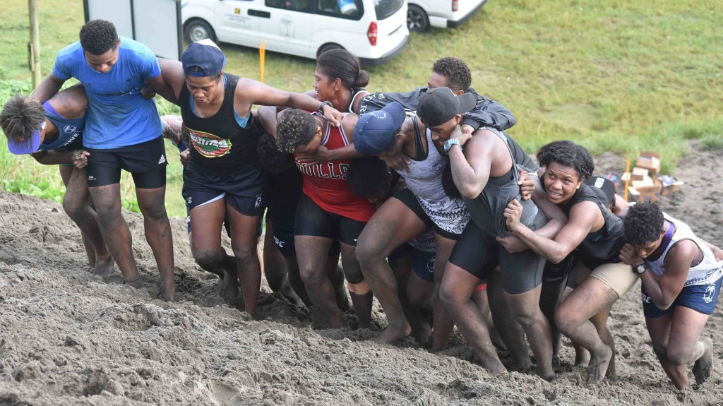 Fiji Airways Fijiana 7's reps during training at the Sigatoka Sand Dunes National Park yesterday. Photo: WAISEA NASOKIA