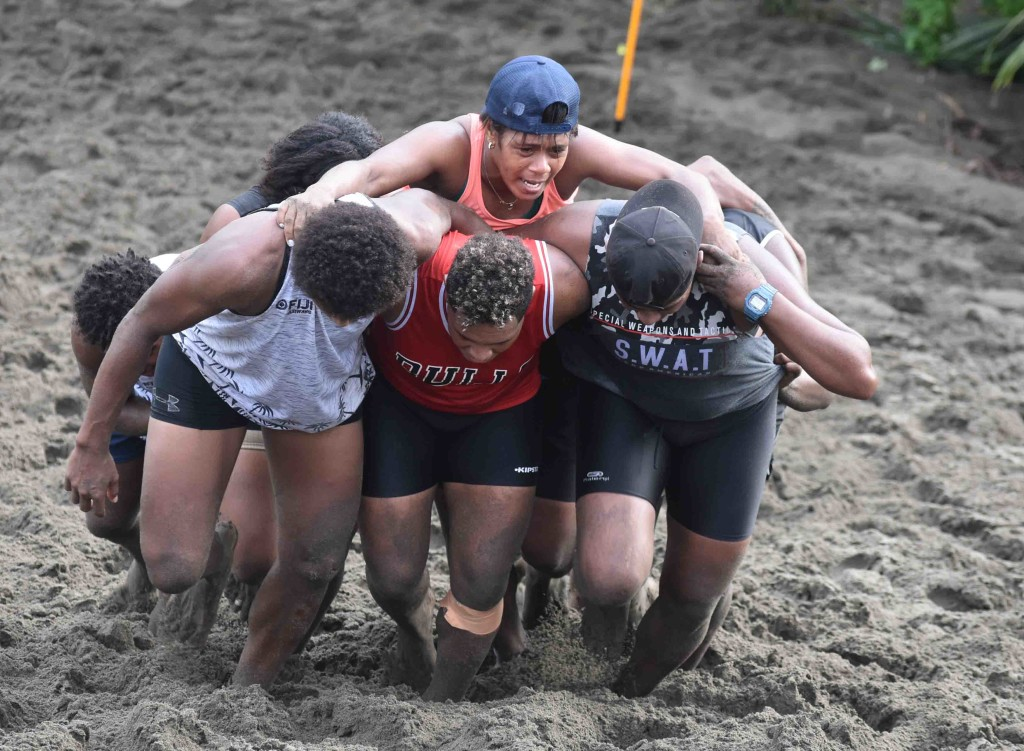Fiji Airways Fijiana 7's rep Ana Maria on top of the pack during training at the Sigatoka Sand Dunes National Park yesterday. Photo: WAISEA NASOKIA
