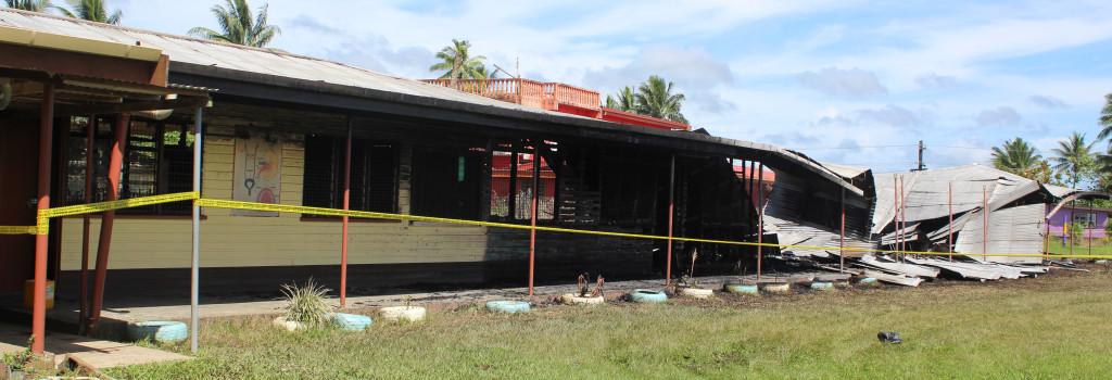 The burned classrooms at Vuci Methodist School on February 16,2019.Photo:Simione Haravanua.